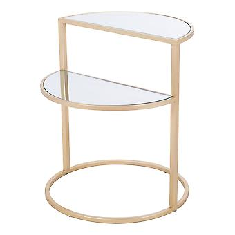 """19.9"""" x 19.9"""" x 23"""" Gold  Mirror and Steel  Side Table"""