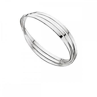 Begynnelse Sterling sølv trippel russisk bryllup flat band Bangle B4587