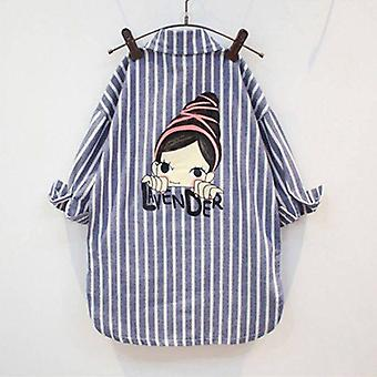 Baby Cotton Shirts- Striped Sleeve Tops -girls Blouse