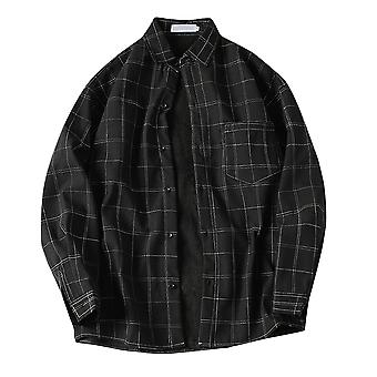 ヤンファンメンズチェックボタンダウンぬいぐるみ暖かいシャツ