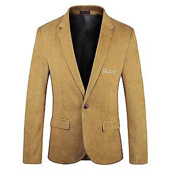 YANGFAN Mens Flat Collar Single Button Suit Jacket Casual Corduroy Blazer