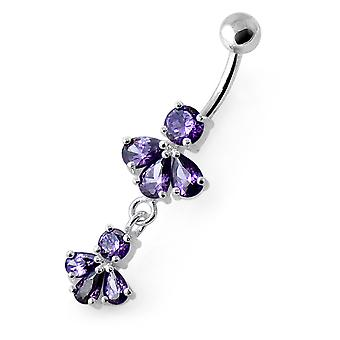 Purple Gemstone Trendy Double Flower Design Sterling Silver Belly Bars Piercing