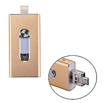 RQW-02 3 in 1 USB 2.0 & 8 Pin & Micro USB 16GB Flash Drive, for iPhone & iPad & iPod & Most Android Smartphones & PC Computer(Gold)