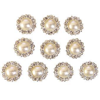 10 Antique Ivory Pearl and Diamante Round Embellishments Grade A Rhinestones