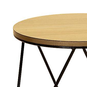 Charles Bentley Round Wood & Metal Hairpin Industrial/Rustic/Modern Bed/Side/Coffee Table