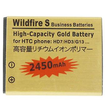 2450mAh High Capacity Gold Battery pour HTC Wildfire S / G13 / HD7 / HD3