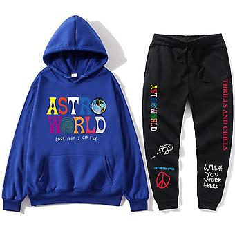 Lettres Print Sweatshirt+sweatpant Men's Pullover Sports Pants Survêtement