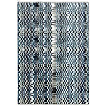 Skye Wave Geometric Rugs In Sk03 Blue