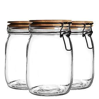 Argon-astiat 6-osainen ilmatiivis säilytyspurkki puisella kansisarjalla - Style Glass Canister - Musta tiiviste - 1 litra