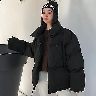 Winter Jacket, Women Stand Collar, Solid Female Down Coat, Loose Oversized