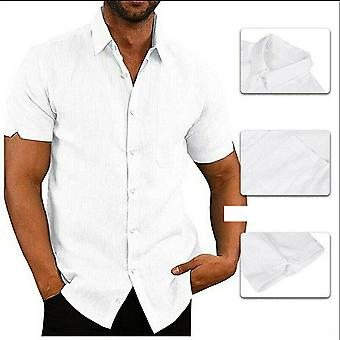 Short Sleeve Baggy Buttons Summer Solid Comfortable Pure Cotton And Linen