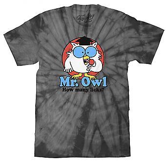 Tootsie Roll Mr. Owl How Many Licks Grey Tie Dye T-Shirt