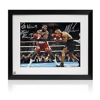 Mike Tyson And Frank Bruno Signed Boxing Photo. Framed