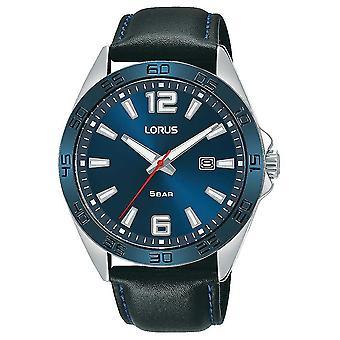 Lorus Mens | Blauwe wijzerplaat | Zwart lederen band RH917NX9 horloge