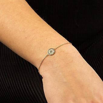 Elements Gold Womens 9ct Yellow Gold White Topaz, London Blue Topaz & Black Spinel Evil Eye Bracelet 16cm + 4cm