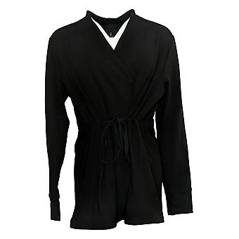 Cuddl Duds Comfortwear Cascade Front Wrap Black A381692