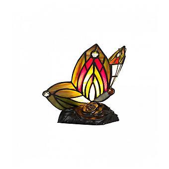 Lámpara De Mesa Tiffany Colin 1 Bombilla Verde / Roja 25 Cm