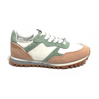 Shoes Sneaker Running Liu-jo Mod Alexa In Suede Green White Fabric/ Beige Woman Ds19lj05