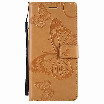 Butterfly pattern leather case for Samsung Galaxy S9 - Yellow