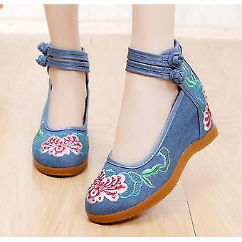 Women's Chinese Ethnic Embroidery High Heel Elevator Cheongsam Dancing Shoes Hibiscus
