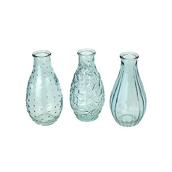 Set of 3 Light Blue Decorative Textured Glass Bottle Bud Vases 5.75 Inches High