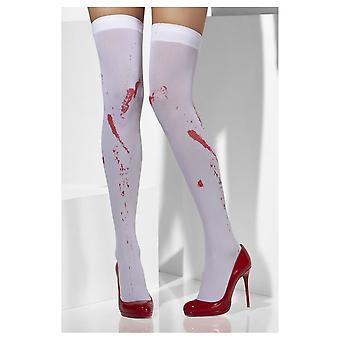 Witte ondoorzichtige kousen met vrouwenbloedvlekken