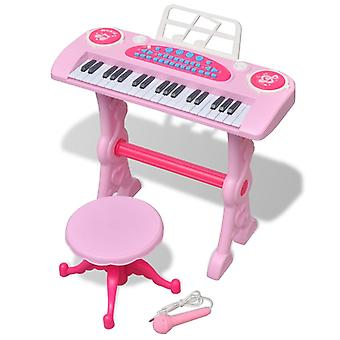 Kids Keyboard Toy Piano with Stool/Microphone 37 Keys Pink