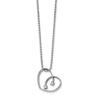 polert prong sett hummer klo lukking hvit is .02ct diamant kjærlighet hjerte halskjede 18 tommers smykker gaver til kvinner