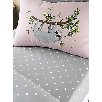 Sloth Hanging Out Dots Double Fitted Sheet and Pillowcase Set