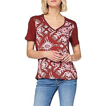 Scotch & Soda Short Sleeve Tee med tryckt vävd frontpanel t-shirt, mångfärgad (Combo B 0218), Medium Woman