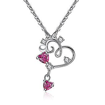 GemShadow women girls 925 sterling Silver CZ Heart Necklace and 925, color: Red, cod. AQEN000085