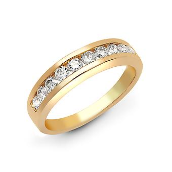 Jewelco London Ladies Solid 18ct Yellow Gold Channel Set Round G SI1 0.25ct Diamond Dainty Band Eternity Ring 3mm
