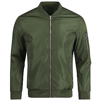 Mile Men's Solid Color Zip Jacket Fashion Casual Slim Top Jacket Maroon And Army Green