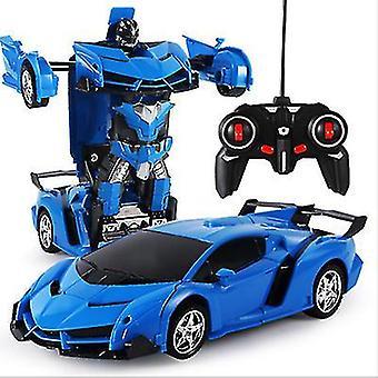 Blaue Fernbedienung Verformung Roboter Polizei Auto Fernbedienung Spielzeug Kinder aufladen Spielzeug az6757