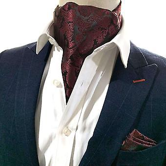 Red wine paisley cravat & pocket square set