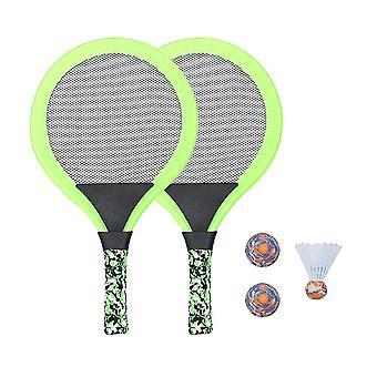 1 set kinderen tennis racket strand racket set met ballen binnen en buiten sportspeelgoed voor kinderen kinderen (groen)