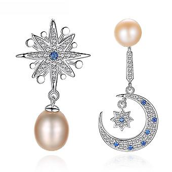 Earrings Multicolored Asymmetric S925 Antiallergy Freshwater Pearl Earrings For Daily Use