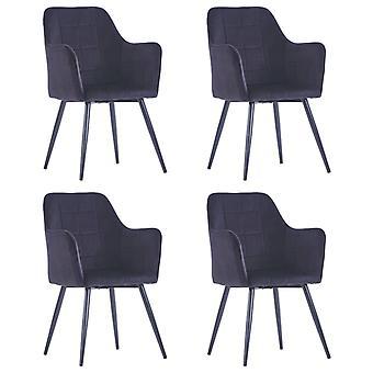 vidaXL כיסאות אוכל 4 יח'. קטיפה שחורה