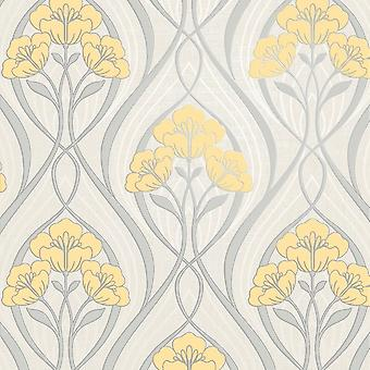 Fine Decor Evelyn Floral Yellow Wallpaper FD42575