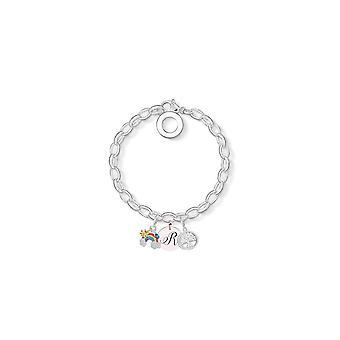 Rainbow Charm Armband insvept med kristaller från Swarovski - Initial R