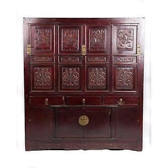 Fine Asianliving Antikk Kinesisk Skap Håndlaget Blomsterutskjæringer W156xD52xH174cm