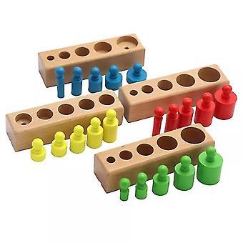 Lapset Montessori Cylinder Socket Puzzles Lelu Vauvan kehitysharjoittelu | Matemaattiset lelut