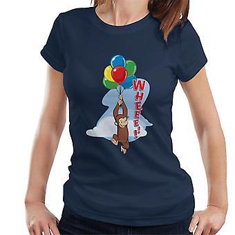 Curioso George che galleggia su palloncini t-shirt donna
