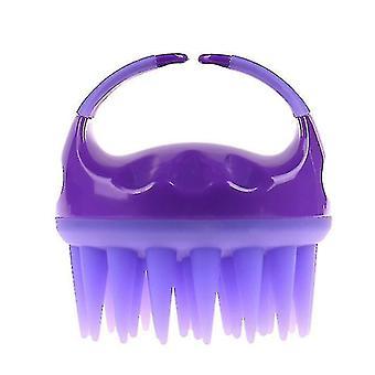 silikon sjampo børste, hodebunn massasje rengjøring børste, massasje silikon kam for lengre hår (lilla)