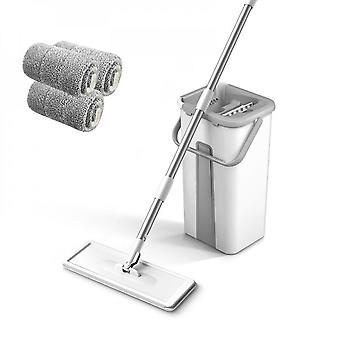 Flat Pressure Cleaning Mop Wet And Dry Microfiber Mat With Bucket Bathroom Accessories