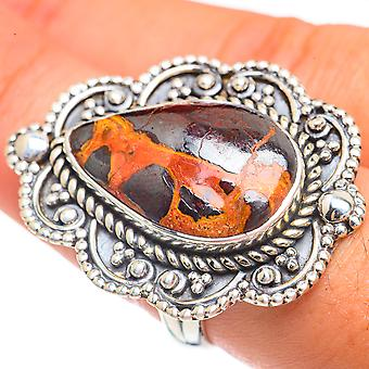Large Bauxite Ring Size 9 (925 Sterling Silver)  - Handmade Boho Vintage Jewelry RING68293