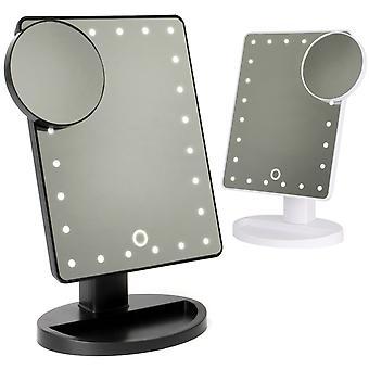 LED lyser opplyst sminke baderomsspeil med forstørrelsesglass | Pukkr Hvit