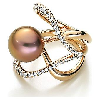 Luna-Pearls Freshwater Pearl Ring 750/- Rose Gold 43 Brill. 0,65ct. Gr 56 (17.8mm)