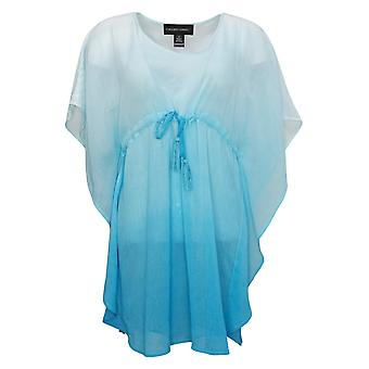 Colleen Lopez Women's Top XS Sheer Empire Waist Dip Dye Tunic Blue 656596