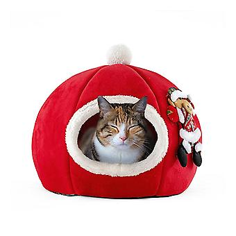 White christmas cozy pet bed